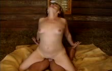 Mature German slut fucks in a barn