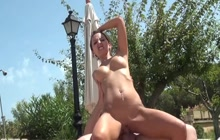Outdoor cock ride and creampie