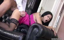 Beautiful babe fucked on sofa