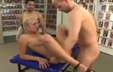 Blonde slut assfucked in gangbang