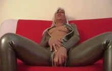 German mom masturbating in latex